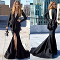 INM-228  Michael Costello Deep V Neck Ruffles Long Sleeves Mermaid Slit Front Open Back Celebrity Dresses Special Occasion Dress