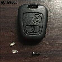 AUTEWODE Replcace Автомобильный ключ оболочки для Toyota Aygo 2 кнопки дистанционного ключа брелок чехол без логотипа без лезвия+ 2 шт. микро переключатели