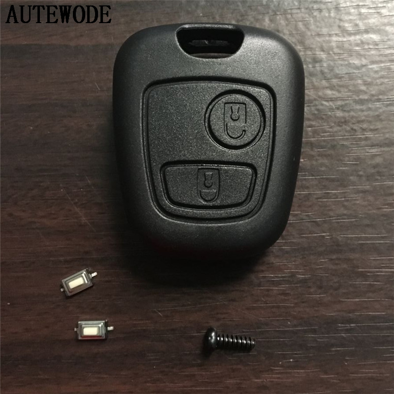 AUTEWODE Car-Key-Shell Fob-Case-Cover Remote-Key No-Blade Micro-Switches No-Logo 2-Button title=