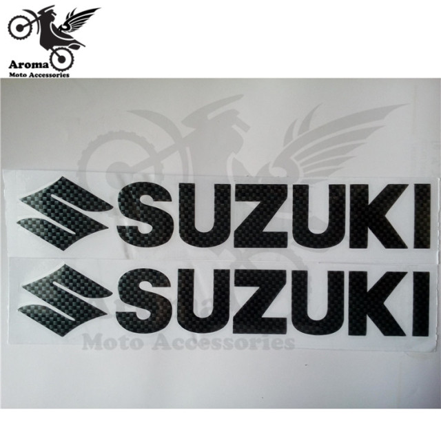 2 PCS Carbon Fibre Color Motorcycle Decal For Suzuki Logo Motorbike Sticker Unviersal Car Styling Waterproof