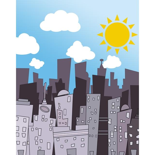 Seamless Vinyl Photography Background Cartoon Buildings