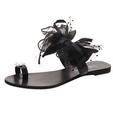 Summer time Girls Flower Bow Tie Flat Slides Clip Toe Women Informal Style Flip Flops Seaside Footwear zapatos mujer ladies's sneakers