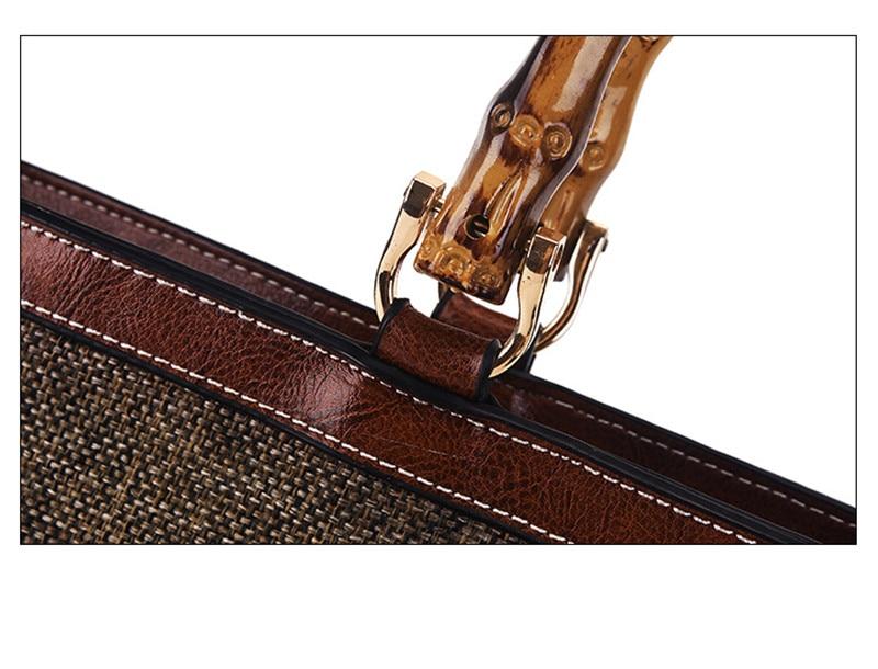 BARHEE Lederen Merk Designer Luxe Dames Handtas Bamboe Handvat Dames - Handtassen - Foto 5