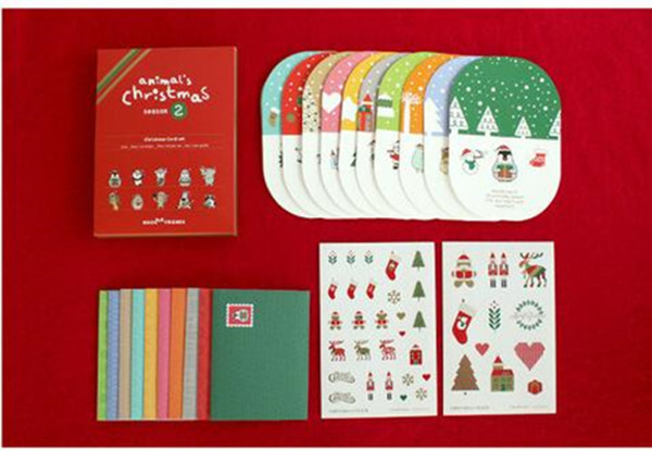 20Pcs/Set 10 cards +10 envelopes Christmas Postcard /Greeting Card/wish Card/Kids Chrismas Gift greeting card 3d pop up cards love tree heart valentine lover happy birthday greeting card