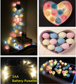 Led battery powered pastel doce luz azul + rosa claro + creme algodão bola de corda de luzes, Pátio festa em casa decoração do casamento