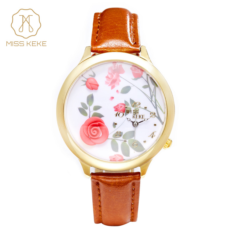 China Watches 2016 Miss Keke Clay 3d Red Rose Clock Women Watches Ladies Woman Fashion Hot Selling Leather Wristwatches 3 1pcs hot fashion women red rose nail art