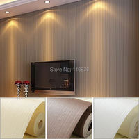 Top Quality Non Woven Fabric Mural Wallpaper Modern Striped Flock Wall Paper Papel De Parede Tapete