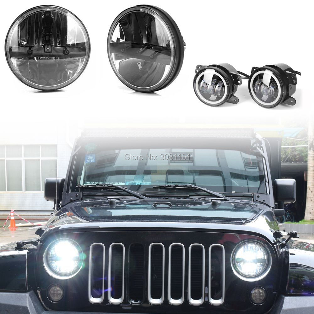 Projector 7 INCH LED Headlight for jeep Auto lamp Plus 4 inch Fog lamp with DRL for 2007-2014 Jeep Wrangler Unlimited JKU 4 Door left hand a pillar swith panel pod kit with 4 led switch for jeep wrangler 2007 2015