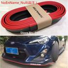 Red With Black 2.5M Car Front Bumper Lip Protector Rubber Splitter Valance Chin Body Guard Side Skirt Spoiler Cover