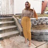 Women Skirts Solid Color Pencil Skirt Muslim Dress Islamic Clothing High Waist Bodycon Fashion Split Stretchy Skirts For Women