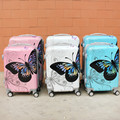 Fashion Lady Butterfly Travel Luggage/Women Vintage Design Suitcase On Wheels/Girls 20'' ABS Hardside Trolley Boarding Bags