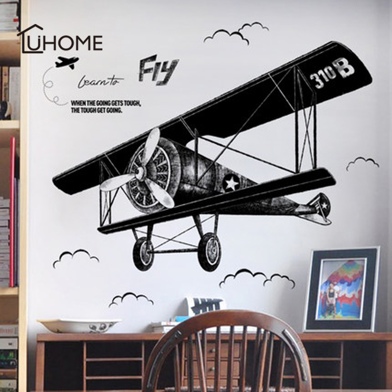 1x Black Color Large Airplane Wall Stickers for Kids Room Decor DIY Mural Art Removable Vinyl Wall Decals Wallpaper 130*93cm image