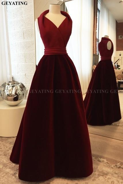 Elegant V-Neck Satin Velvet Burgundy Evening Dress 2019 Robe Dubai soiree Long Floor Length Arabic Women Formal Prom Dresses New