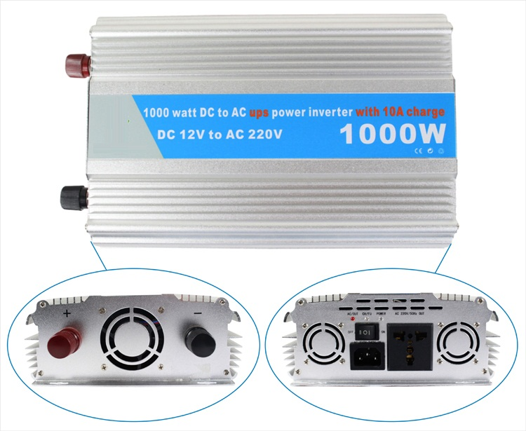 Фото DC12V to AC220V 50HZ 1000w modified Sine Wave Inverter with 10A UPS Charger Function Home Use