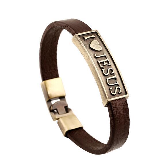 Faith Jewelry Accessories Fashion I Love JESUS Letter Bracelets Genuine Leather Strap Rope Wrap Bracelet Wrist Band