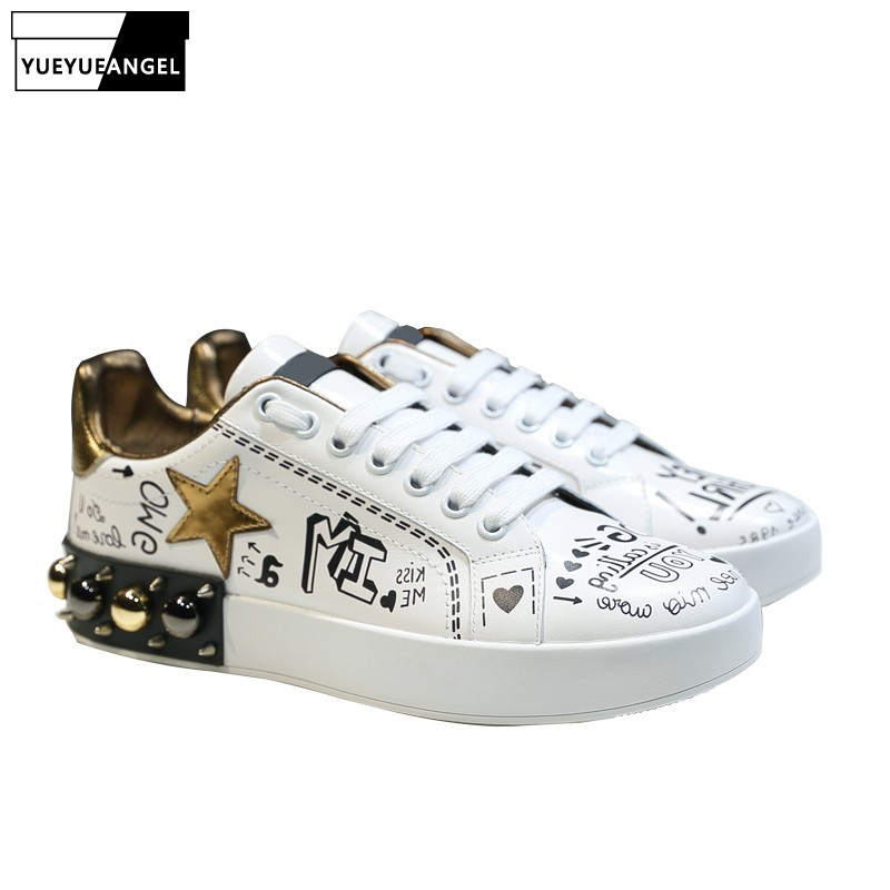 Shoes Woman Fashion Floral Print Bling Rivet Sneakers Women Luxury Brand Designer Shoes Genuine Leather White Platform ShoesShoes Woman Fashion Floral Print Bling Rivet Sneakers Women Luxury Brand Designer Shoes Genuine Leather White Platform Shoes