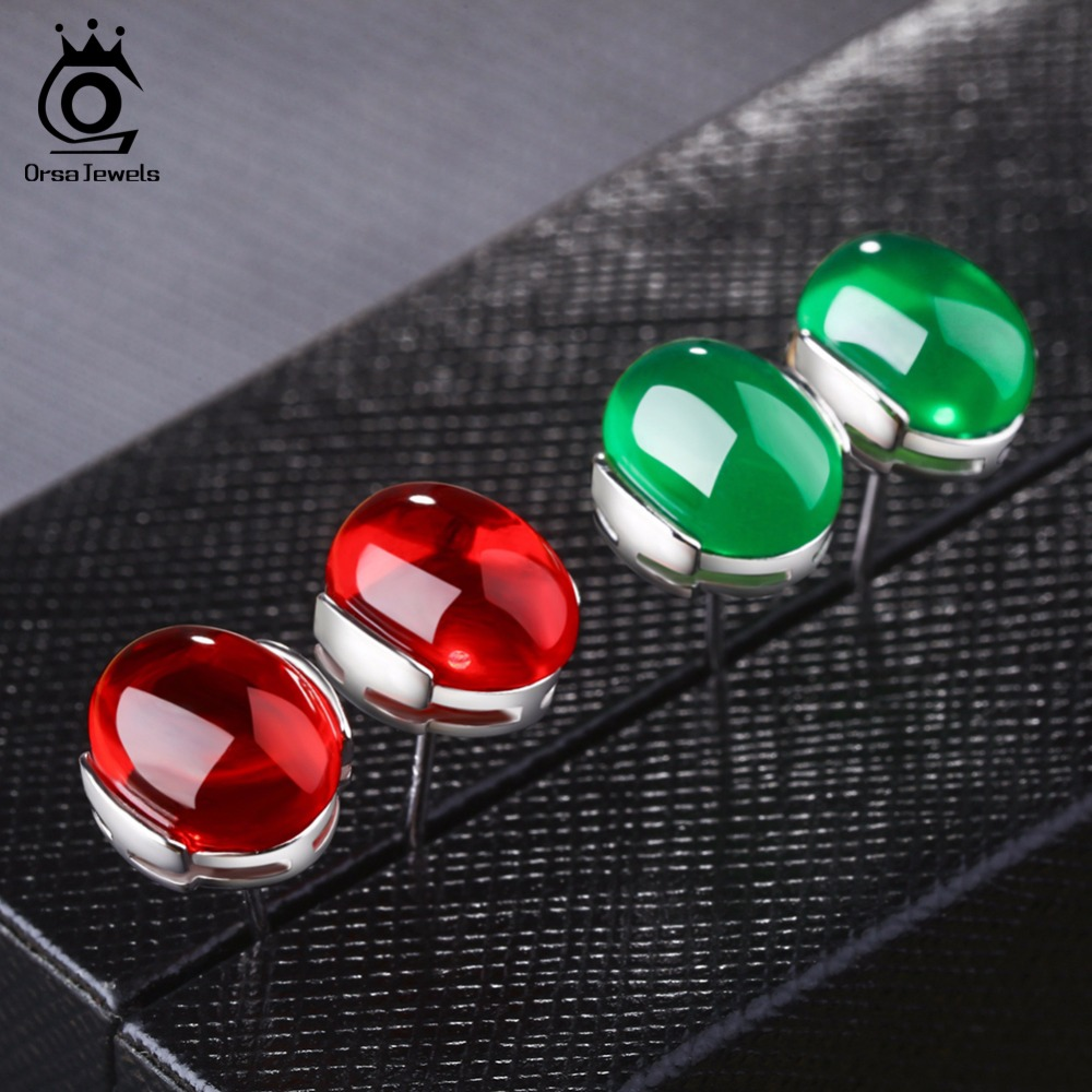 ORSA JEWELS 2018 Luxury Natural Stone Earring Green / Blue / Red / - Bisutería