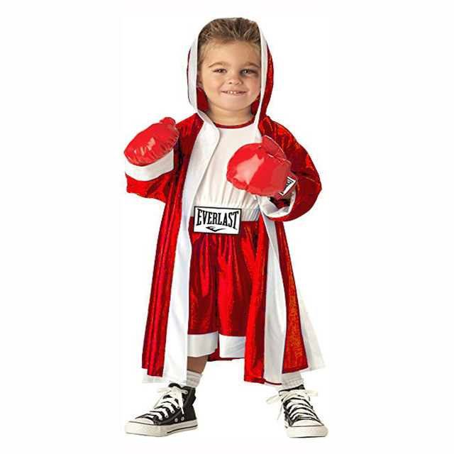 halloween party cosplay costume boy girl children red blue boxer costume clothing jumpsuit coat and red gloves
