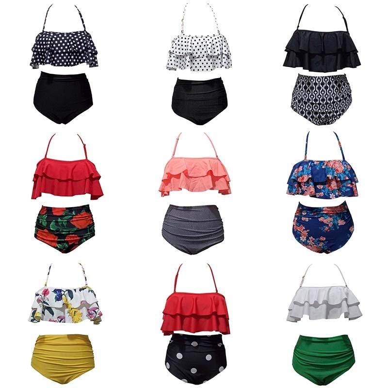 2018 New Bikinis Women Swimsuit High Waist Bathing Suit Plus Size Swimwear Push Up Bikini Set Vintage Beach Wear Biquini