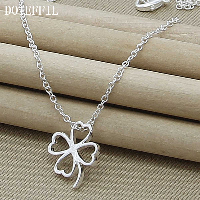 Trendy Flower 925 Silver Color Necklace Women Jewelry Four Leaves Clover Necklaces Pendant For Mother Gift