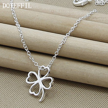 Trendy Flower 925 Silver Color Necklace Women Jewelry Four Leaves Clover Necklaces Pendant For Mother Gift(China)