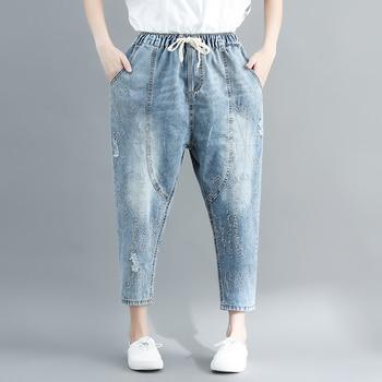 2019 summer new embroidery women jeans harem blue loose all match lady elegant denim pants фото