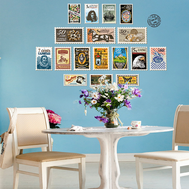 diy modern color stamps wall sticker kitchen fridge vintage poster