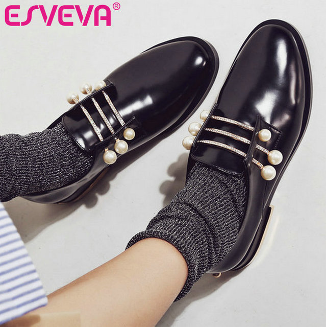 ESVEVA 2017 Fashion Beading Spring Fall Shoes Square Mid Heel Women Pumps Round Toe Size 34-43