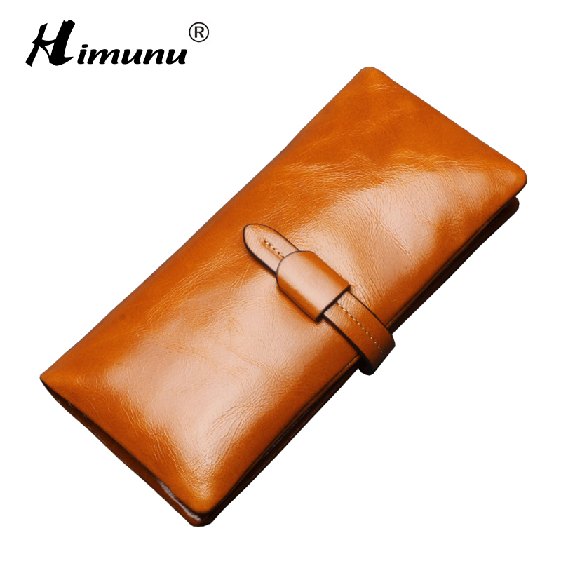 100% Cowhide Women Real Leather Wallet For Money Coin Purse Vintage Luxury Long Women Wallets and Purses Credit Card Holder Blue