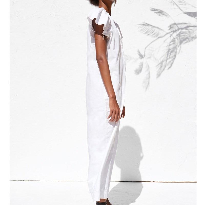 Ladies White Sexy Long Jumpsuits Women Jumpsuits Fashion Short Sleeve Bodysuit Female Elegant V Neck Ruffles Jumpsuit in Jumpsuits from Women 39 s Clothing