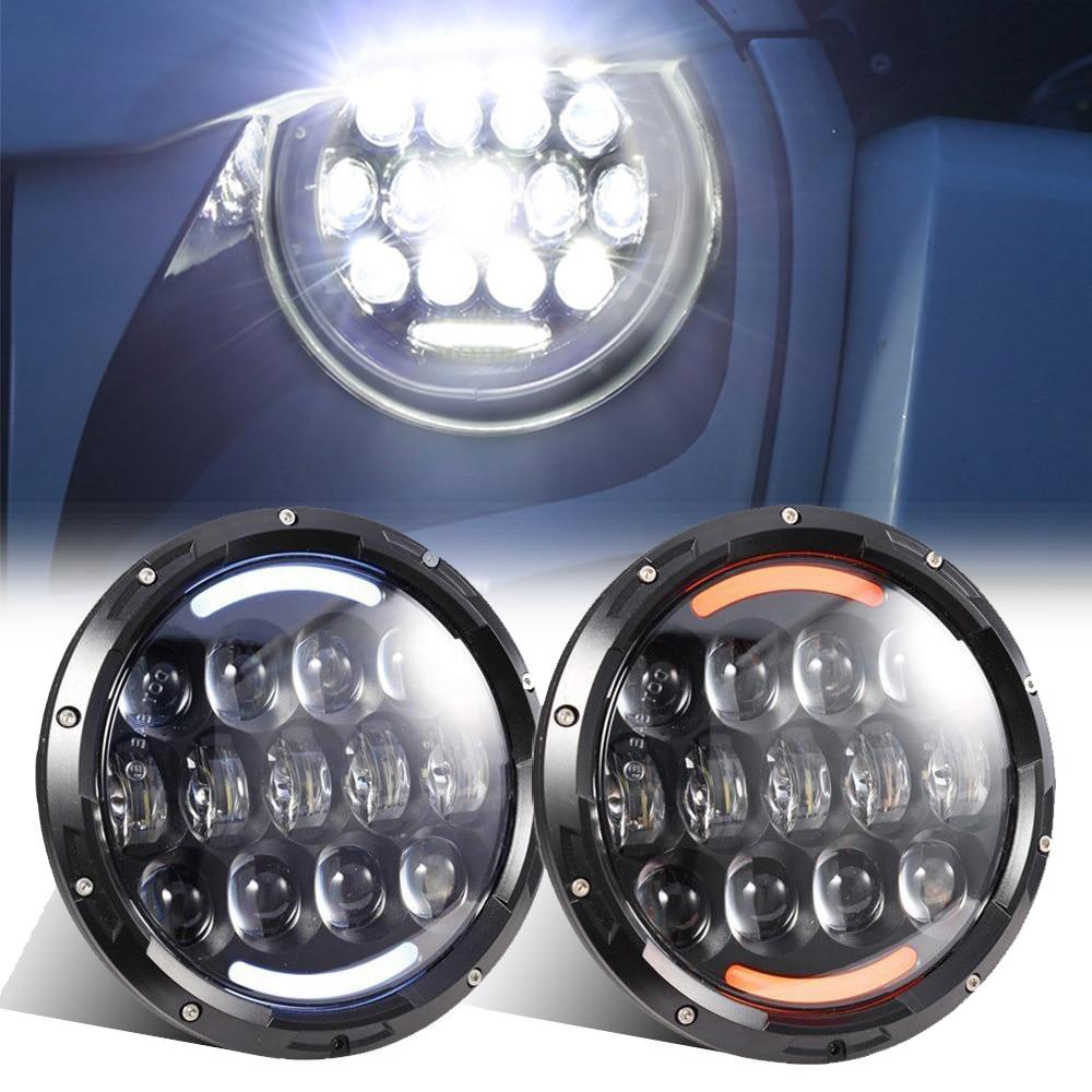 7 pouces rond phare LED 105 W H4 salut/Lo faisceau ange oeil clignotant avec blanc DRL pour voiture Land Rover Hummer Jeep Wrangle