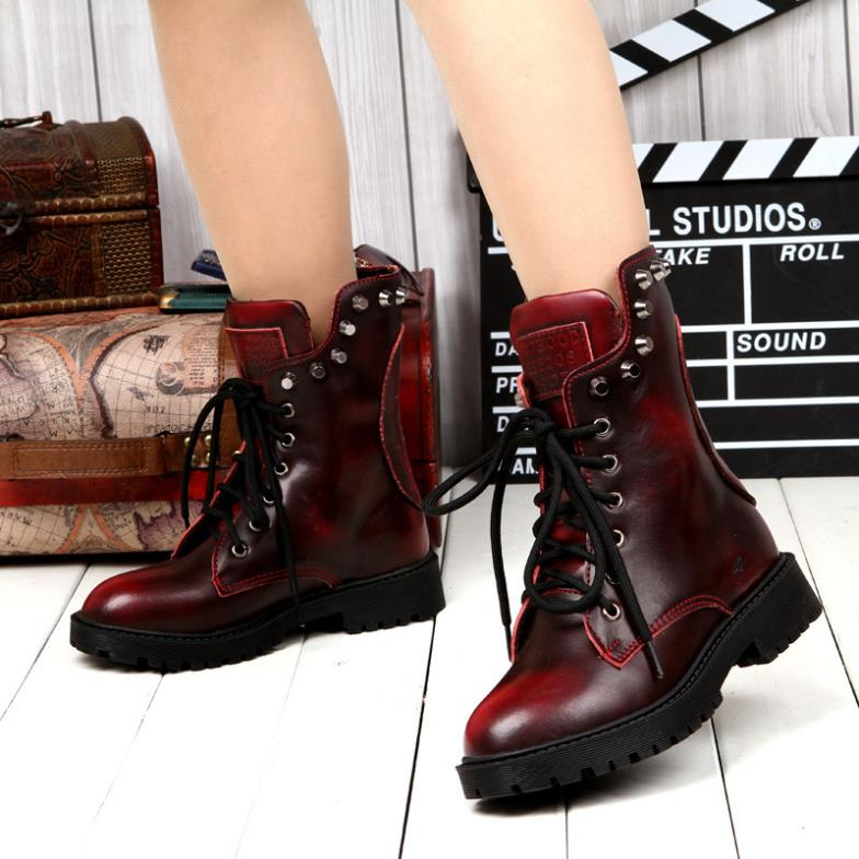 d2bb60ce2ed4 Hot Selling Vintage Rivet Women Genuine Leather Motorcycle Boots Fashion  Punk Stud Skull Lace Up Ankle Boots Ladies Martin Boots-in Ankle Boots from  Shoes ...