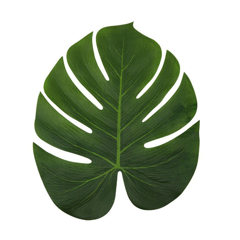 12pcs Artificial Tropical Palm Leaves for Hawaiian Luau Party Tropical Theme Leaf Place Mat Backgrounds for Photos