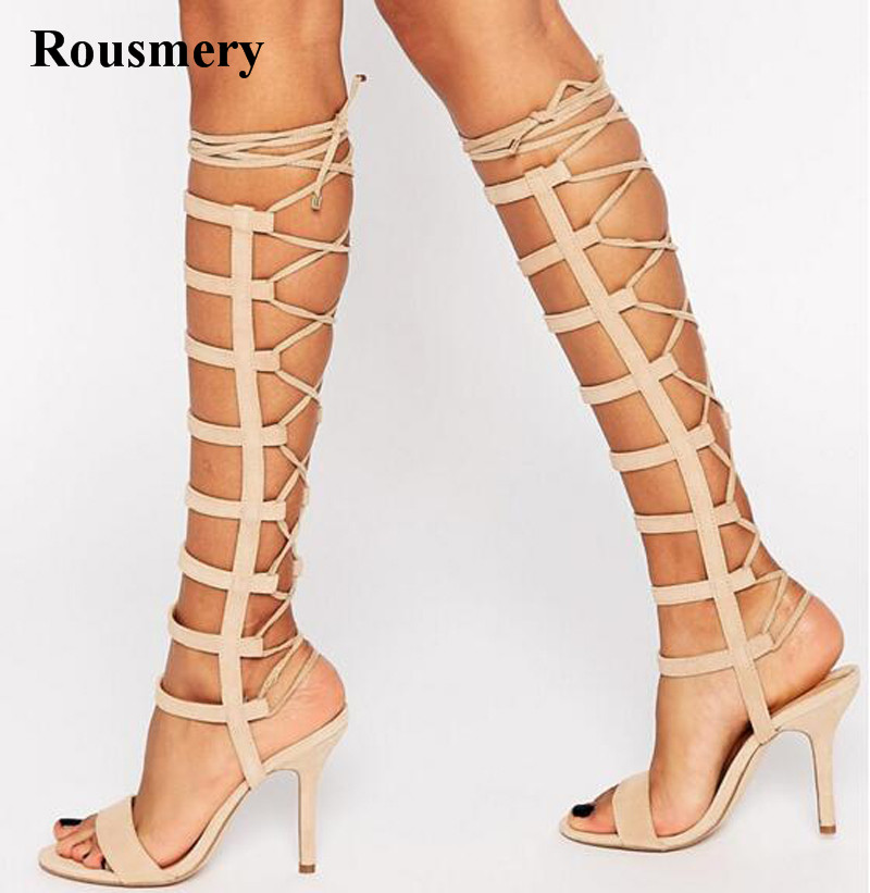 Summer Fashion Open Toe Strappy Knee High Gladiator Boots Lace-up Suede Leather High Heel Sandal Boots Sexy Evening Shoes auto refitting hood front grille badge emblem car badge sticker for mitsubishi asx lancer outlander galant pajero ralliart etc