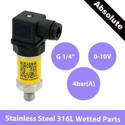 0 czujnik ciśnienia 10V  woda powietrze olej  zasilanie 12 30V  400 KPa  przetwornik absolutny 4 bar  gwint G1 4  części zwilżone AISI 316L