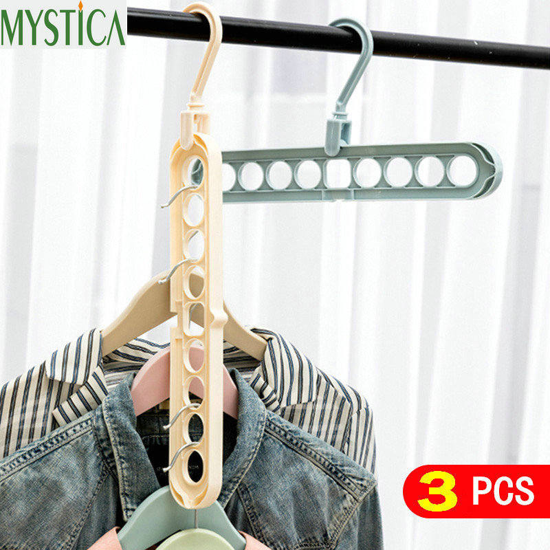 3PCS Organizer Clothes Hanger Holder Storage Rack Organization Hangers Garment Drying Shelf Rotating Rotate Clothing Closet Hook