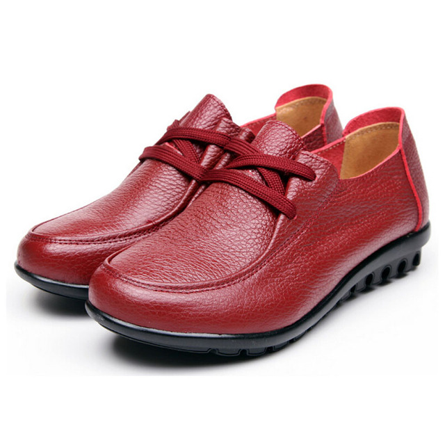 Shoes Woman Autumn Hot Single Flat Shoes Genuine Leather red/black Plush Size 35-41 Mother's Shoes 5d66