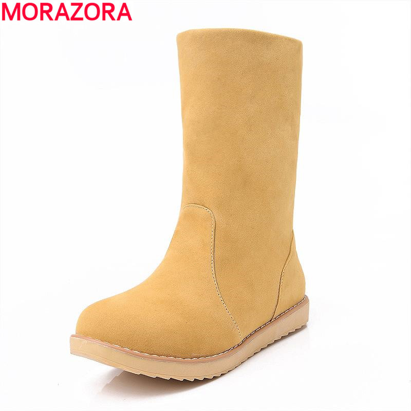 MORAZORA Large size 33-43 new  Offers a variety of color for ladies simple  slip on winter keep warm well boots environmentally friendly pvc inflatable shell water floating row of a variety of swimming pearl shell swimming ring