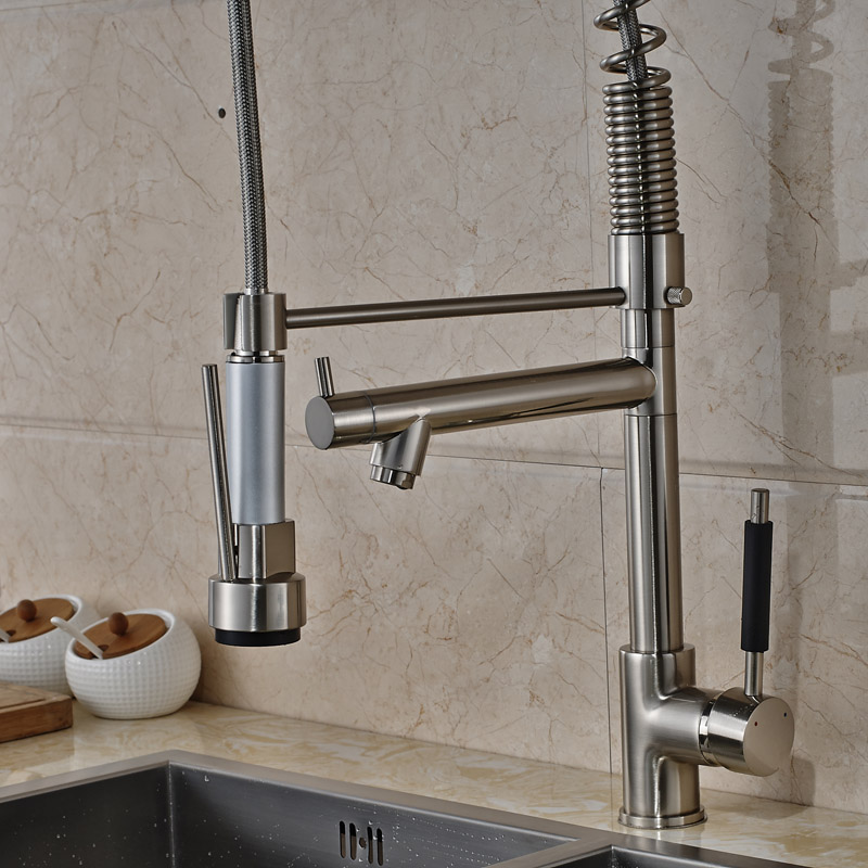 Brushed Nickel Pull Down Kitchen Sink Faucet Single Lever LED Light ...