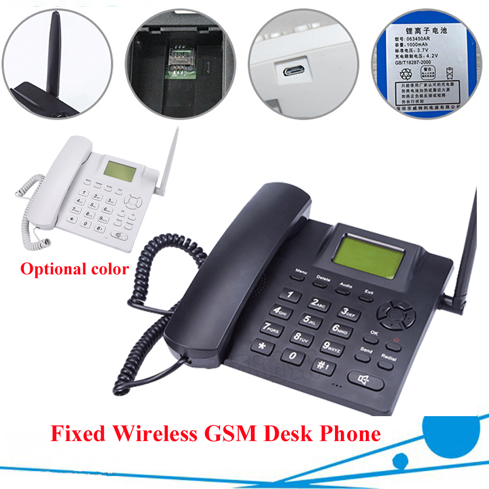 Black Fixed Wireless GSM Desk Phone Quadband SIM Card SMS Function