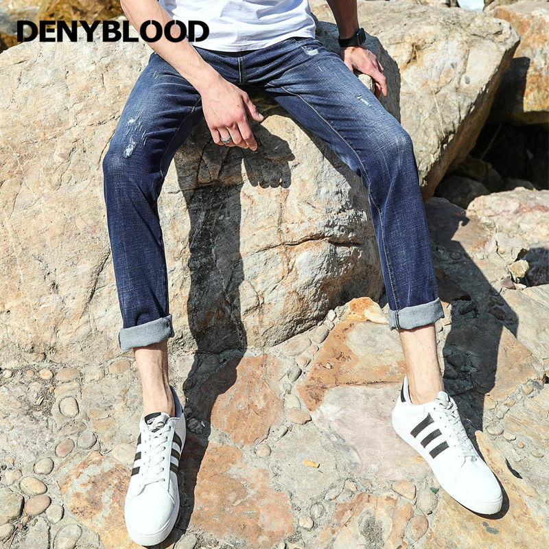 Denyblood Jeans Mens High Stretch Denim Distressed Jeans Ripped Black Patchwork Hole Slim Straight Baggy Pants Trousers 738617 new men denim jeans pants scratched patchwork hole beggar trousers fashion straight slim casual vintage mens distressed pants