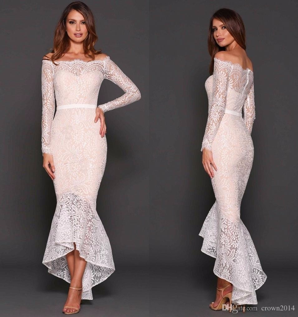 Hot Sale Long Sleeves Boat Neck High Low Prom Dresses 2017