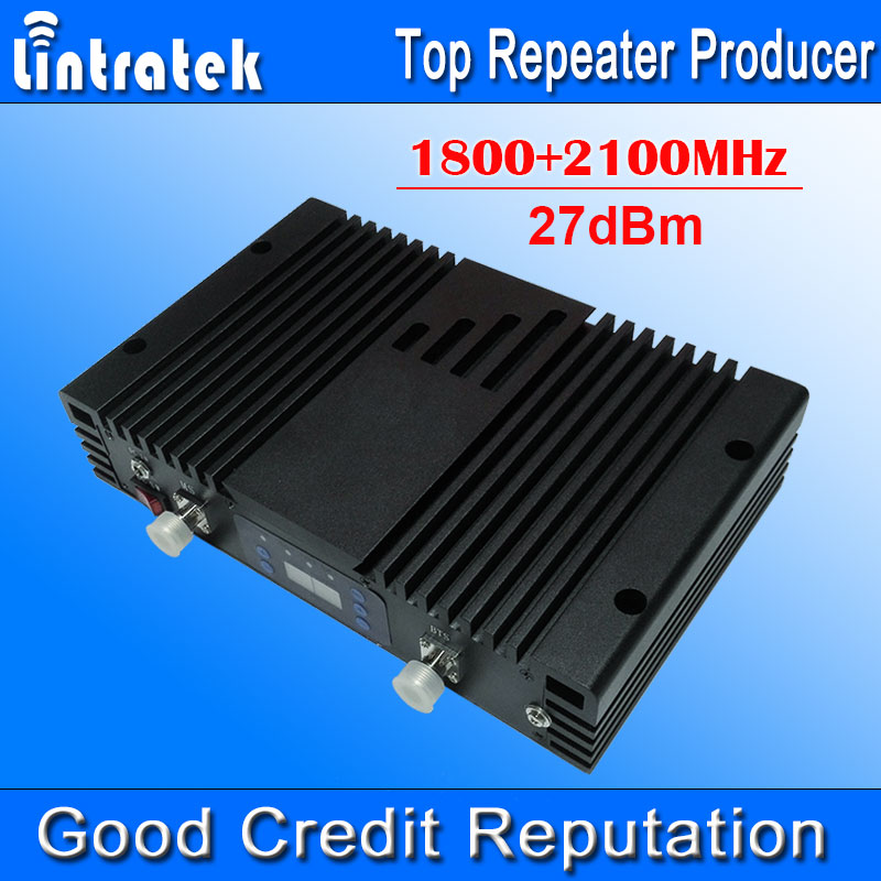 75db AGC MGC LCD 4g LTE 1800g 2100 mhz Dual Band Signal Boosters mhz + 3 Poderoso 1800 + 2100 mhz Móvel Repetidor de Sinal de Telefones Celulares #