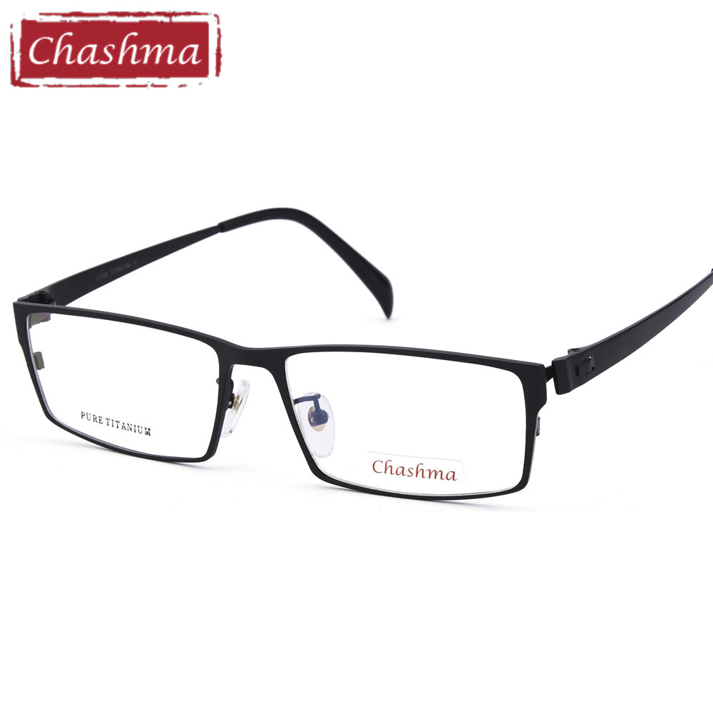Chashma Gentlemen Pure Titanium Eyeglasses Frame Lentes Opticos Gafas Top Quality Titanium Frames Male Big Frames