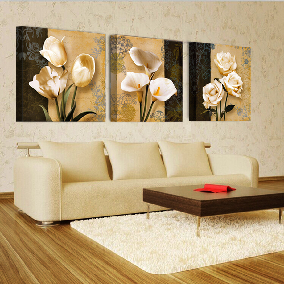 3 Free Shipping Cheap Brown Orchid Modern Art Deco Mural Painting ...