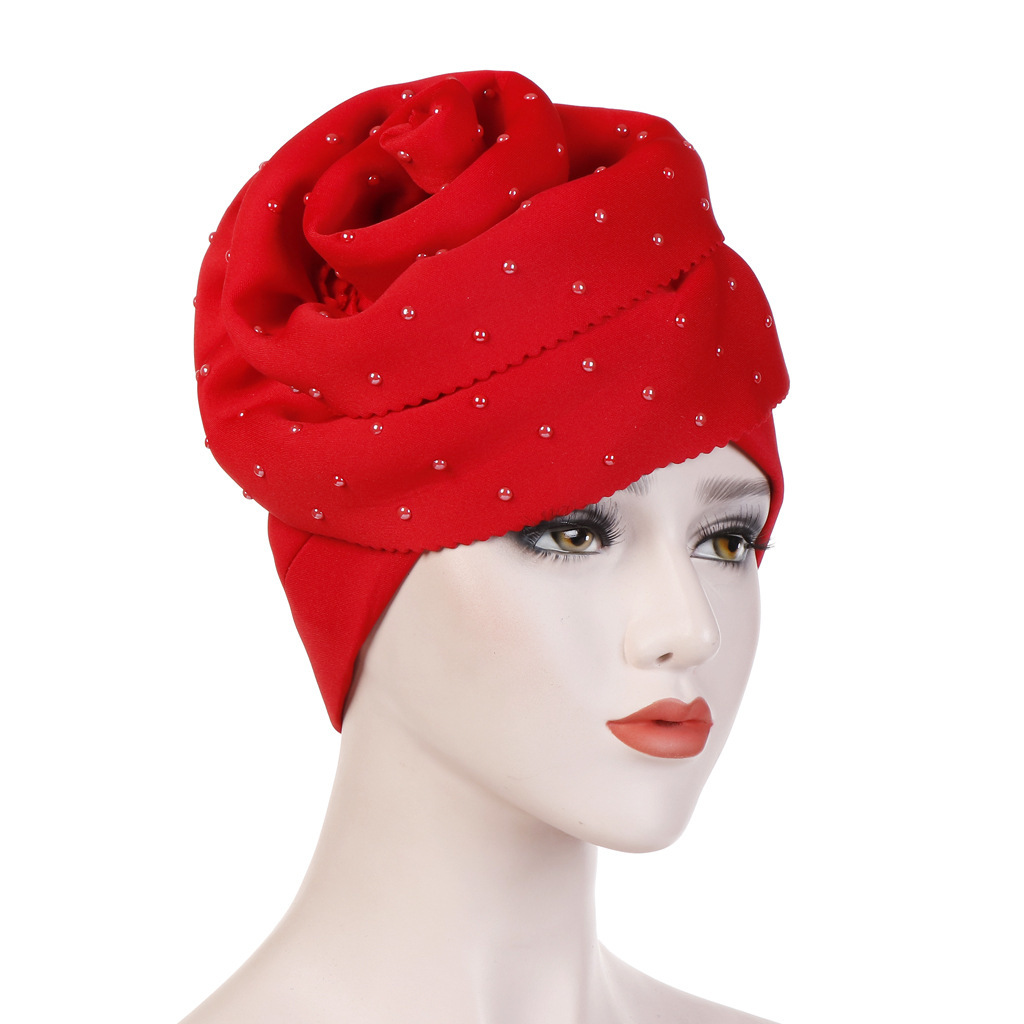 Flower Ceramics Search Edge Solid Color Scarf Hat Cotton-padded Cap Hijab Caps Turban Muslim Dress Headscarf