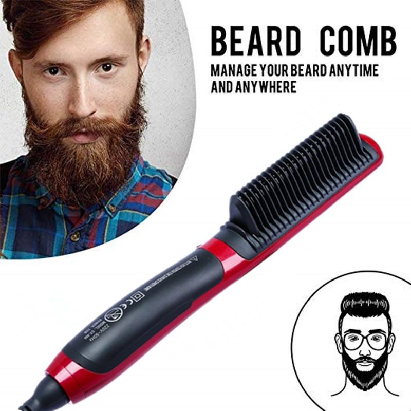 Professional Ceramic Electric Beard Brushes Men Quick Beard Straightener Styler Comb Multifunctional Hair Curling Show Cap Tool