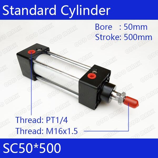 SC50*500 50mm Bore 500mm Stroke SC50X500 SC Series Single Rod Standard Pneumatic Air Cylinder SC50-500 bore 32mm 500mm stroke si series iso6431 standard cylinder pneumatic cylinder air cylinder