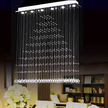 3/5/6 Heads K9 Crystal LED pendant Lights Fixture Rain Drop Curtain Lustre Hanging Square Lamp Lustres free shopping