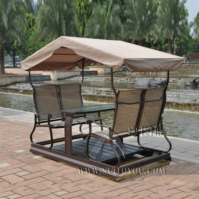 Moderne 4 sièges droite gauche mobile balançoire extérieure chaise adulte hamac meubles avec auvent